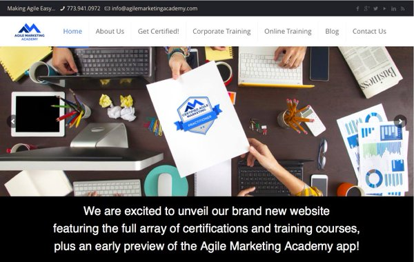 Agile Marketing Academy Home Page Launch